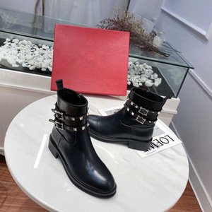 Vera Pelle Rivetti Studed Donne Stivaletti Fashion Black Women Boots Runway Party Dress Shoes Causual autunno