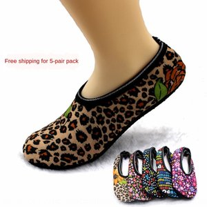 5 pairs of printed velvet thickened footwear Home shoes adult men's and women's anti-skid floor warm socks home shoes and socks