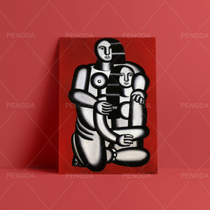 Canvas Prints Two Figures Naked on Red Bottom Poster Wall Art Fernand Legor Home Decor Cubism Painting Modular Pictures Office