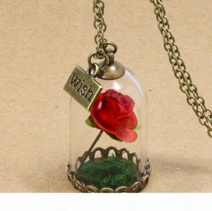 U Beauty And Beast Necklace Rose Glass Jar Necklace Little Prince Red Rose Wish Pendant Necklace Wfn320 (With Chain )Mix Order 20 Piece