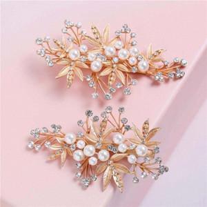 NPASON Gold Leaf Frauen Kopfschmuck Perlen Brauthaarschmuck Clip Pins Strass Haarschmuck für Hochzeit Prom TA20 #