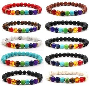 New 7 Chakra Bracelet Men Black Lava Healing Balance Beads Reiki Buddha Prayer Natural Stone Yoga Bracelet For Women