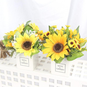 Hot Plastic Artificial Plants with Pot Sunflower Bonsai Fake Plants Fake Flowers Potted Ornaments Bathroom Accessories Home Deco