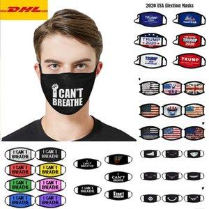 DHL3-5 дней Дизайнер взрослых Детская маска для лица я не могу дышать BLM 2020 Trump Президентские выборы Cotton Флаг моющийся многоразовый MouthCloth Маски