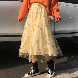 Yellow 3D Flower Lace Skrit Women High Waist Mesh Long Skrit Female elegant Midi tulle skirt Sweet Cute Student School Wear saia T200712