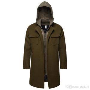 Automne et Hiver Best-vente Nouveau d'homme Manteau en laine de haute qualité de la mode Slim long manteau hommes Tendance sauvage à capuchon C Woollen