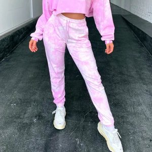 Casual Women Tie dyeing Print Pants Trousers Elastic High waist Fitness Active Bottoms Clothing Ladies Harem Long pants Female