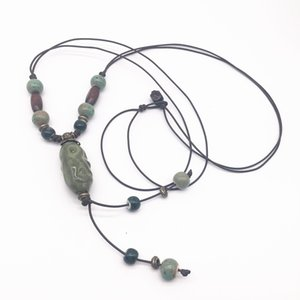 Fashion Ceramics Beads Pendant Bohemia Style Long Sweater Chain Necklace Handmade Braided Jingdezhen Ceramic Jewelry Necklace #C