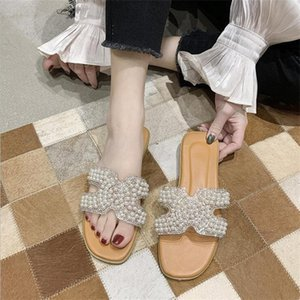 Designer Summer Slippers Sandals Women Fashionable Shoes with Box Real Photo Pearls Slides Best Quality Flats For Ladies