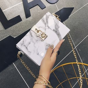 Square box Women's bag marble new marble pattern patent leather small box chain messenger bag Super fire Fashion single shoulder