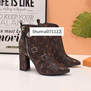 Matchmake Stivaletti con tacco alto Stivali Vera Pelle Monogram Canvas Croce cinghie la punta del piede della signora Boots MIGLIORE QUALITÀ