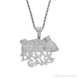 pingente colares hip hop PÃO GANG para mulheres dos homens dos diamantes luxuosos Letras de prata pingentes de platina colar de capital de zircões de cobre banhados
