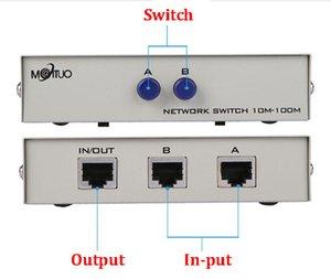 2 Puerto de red de conmutación manual de uso compartido de red Ethernet RJ45 RJ45 Box Switcher Aplicaciones 100MHz 2 en 1
