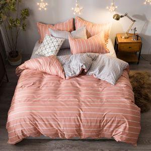 AB 측 침구 세트 패션 하우스 고급 침대 커버 시트 베개 핑크 줄무늬 홈 섬유 가족 베드 리넨 높은 품질