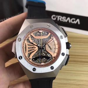 Мужские кварцевые часы, Royal дуб 42 мм, время движение кварца, сапфир импортировано зеркало, водонепроницаемый резиновый ремешок мужских многофункциональные часы