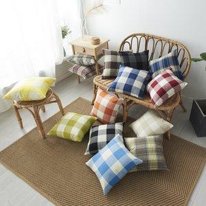 A cuadros fundas de almohada 45 * 45cm de celosía tirar almohada funda de almohada geométrica cubiertas decorativas del amortiguador del regalo de la decoración del hogar DHE353