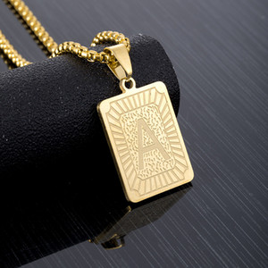 A-Z 26 Initials Pendant Letter Necklace For Women Men Gold Golor Stainless Steel Square Alphabet Charm Box Link Chain