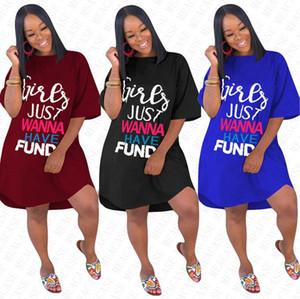 DHL Las chicas sólo quieren FONDO mujeres se visten de Cartas diseñador del verano blusa suelta vestidos Sobre la rodilla falda Trajes camiseta larga vestido D71612
