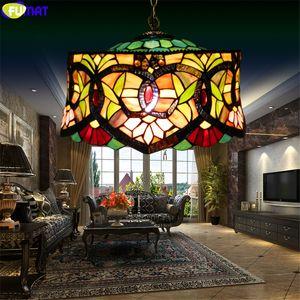 Fumat Tiffany Estilo Multicolor vitral Dinning Room Lamp Single-Headed Hat Chandelier Artesanato Art Home Decor Luz verde
