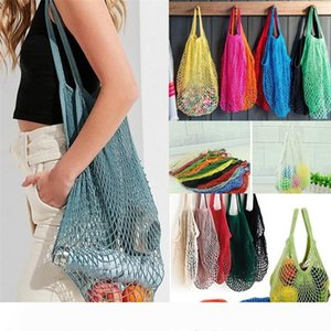 Mesh Net Shopping Bags Fruits Vegetable Portable Foldable Cotton String Reusable Woven net bags Tote for Kitchen Sundries Storage Bags I271