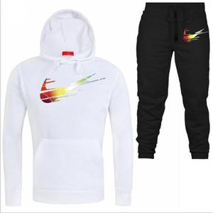 Pullover Imposta Uomini Tute 2020 con cappuccio Pantaloni Casual Uomo Abbigliamento sportivo Pant Hoody Felpa maschile tute da jogging Sweatpant 2 pezzi S-3XL