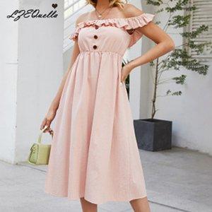 women sexy long dress solid ruffles button backless dresses Strapless sunmmer beach sundress holiday pink vestidos NZ1247