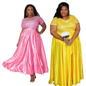Además Diseñador Tamaño lentejuelas mujeres vestidos de manga corta casuales o cuello Womens manera se viste Vestido alto Fajas Cintura