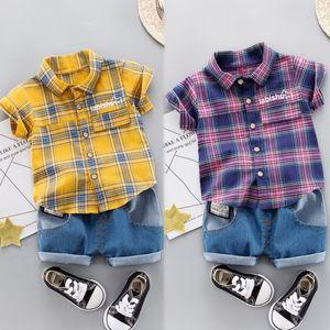 Baby Suits New Summer Boy Shirt Set Plaid Print Tops Blouse Shirt+Shorts Children Casual Short Sleeve Outfits Sets