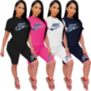 Frauen Plus Size Tracksuits S-3XL Outfits Short Sleeve 2-teiliges Set Sportswear T-Shirts + Shorts Jogger Anzug Sommer Street Kleidung y1234