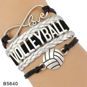 9styles الكرة الطائرة سوار مجوهرات جلدية الجلد المدبوغ رسالة أساور الحب أنا القلب للكرة الطائرة للسيدات للرجال يوم هدية GGA3594-6