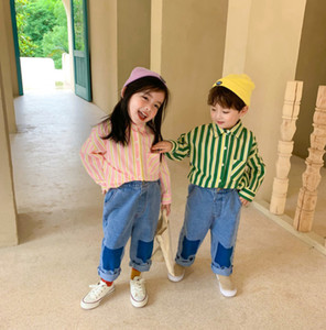 Kids Stripe Casual Shirts 2020 Fall New Children Colorful Striped Lapel Long Sleeve Blous Boys Girls Cotton Casual Tops V062