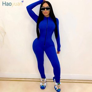 HAOYUAN Sexy Long Sleeve Rompers Womens Jumpsuit Tracksuits Zipper Up Clothes One Piece Club Outfits Sport Bodycon Overalls