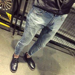 Clareamento jeans homens versão coreana do auto-cultivo estiramento pés calças maré ocasional buraco no joelho grande porte calças compridas maré