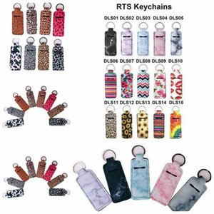 Chapstick Holder Neoprene Wristlet Keychain Marble Printed Chapstick Cover Lipstick Holder Bag Wristband Key Ring Party Favor CYZ2553 200pcs