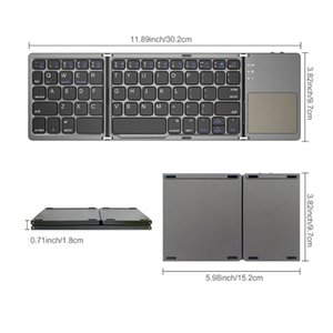 Foldable Bluetooth Keyboard Bluetooth 3.0 Rechargable Portable Mini BT Wireless Keyboard with Touchpad for Android, Windows, PC