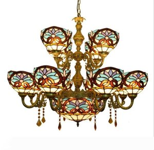 European Style Tiffany Chandelier Stained Glass Pendant Lamps Multi-Head Pendant Lamp For Living Room Bar Coffee Restaurant