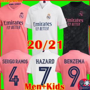 Maglie REAL MADRID 20 21 maglia calcio HAZARD SERGIO RAMOS BENZEMA VINICIUS divise maglia da calcio camiseta uomo + kit per bambini 2020 2021 soccer jerseys