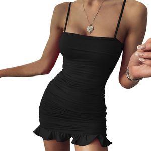 Abito arruffato Donne Sexy Spaghetti Strap Strap Pieghette Mini Dress Mini Dress Femmina Party Nightclub Patchwork sopra il ginocchio Femme