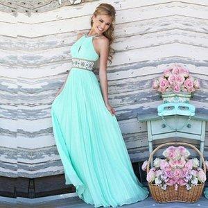 Inside 2019 summer new solid skirt big skirt color printing shoulder-leaking hanging neck hollow waist fold big swing dress