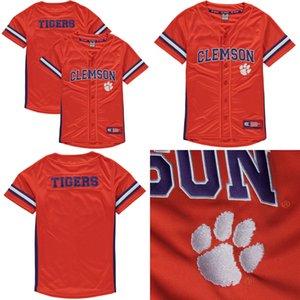 NCAA Clemson Tigers Mens Womens Crianças Cheap laranja Jersey 100% bordado personalizado qualquer nome Qualquer No. Hot Sale Colégio Baseball Jerseys S-6XL