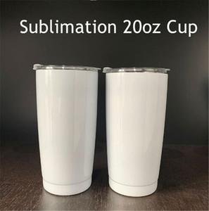 20 onças sublimação Tumblers Car Cup Double Wall Vácuo Garrafa de água transferência de calor Caneca Coffe Impressão com vedação Tampa A02