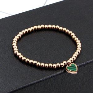 Double Side Color Heart Charm Stretch Strand Bracelets & Bangles Women Jewelry Stainless Steel Ball Love Beaded Bracelets K005-1