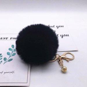 Pearl hair ball ornaments cute fur ball keychain pendant imitation rabbit fur ball ornaments car key ring gift