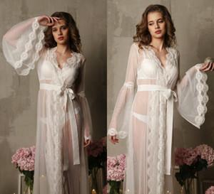 Women Sexy Bathgown Lace Illusion Bridal Bathrope Wedding Prom Party Bathrobes Pyjams Robes Women Pajama