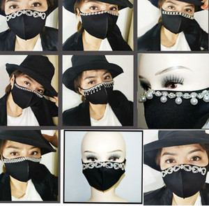 adult black mouth mask Fashionable Face Mask resuable Sparkly Pearls Rhinestones Bling cotton face masks LJJK2411