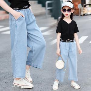 denim desgaste 2020 nuevas muchachas de los niños - Jeans Amplio pierna ancha Tencel de pierna ancha pantalones de los pantalones vaqueros de los niños