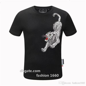 2020 Summer Top Men Tshirt Skulls Rhinestones T Shirts Modal Cotton O Neck Short Sleeve Slim Tee Shirt A3