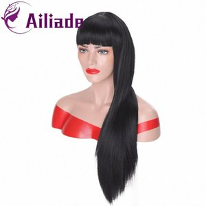 Negro Mujeres AILIADE recta larga peluca sintética Negro rojo y rubio pelucas para Blanco / Con Bangs Naturaleza pelucas pelucas asiática 57zL #
