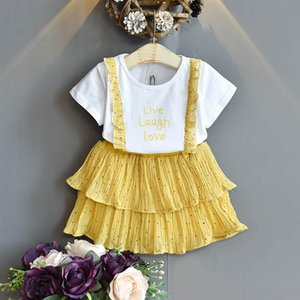 Fashion girls suits Summer 2020 new chiffon girls outfits lace dots kids suits short sleeve T shirt+Pleated skirts 2pcs set retail