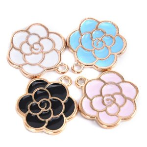 10Pcs Set Enamel Flower Charms For Earrings Pendants Necklace Jewelry Findings Handmade Craft DIY Bangle Bracelet